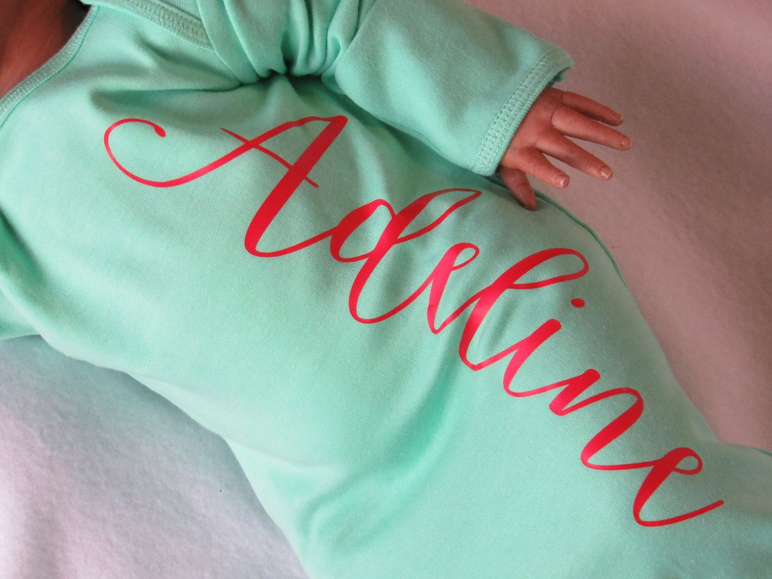 Newborn girl red and aqua name gown - personalized red and aqua baby girl take home outfit - newborn girl red and aqua hospital outfit by TheNewBabyBoutique on Etsy