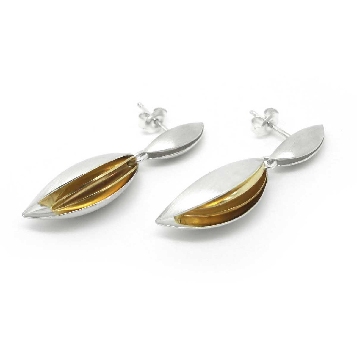 7ffaa5573 Atelier Luz - Silver & Inner Gold Shell Drop Earrings - ORRO Contemporary  Jewellery Glasgow - www.ORRO.co.uk