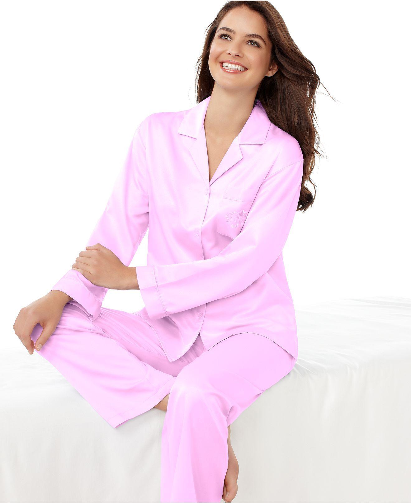 Miss Elaine Petite Pajamas, Brushed Back Satin Top and Pajama Pants ...