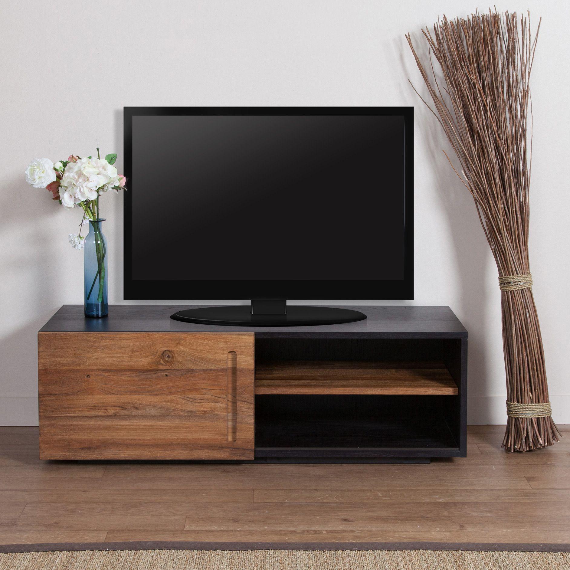 Meuble Tv Bas En Teck 1 Porte Coulissante L120xp42xh39 Cm Sotra  # Meuble Tv Blanc Mat Porte Coulissante