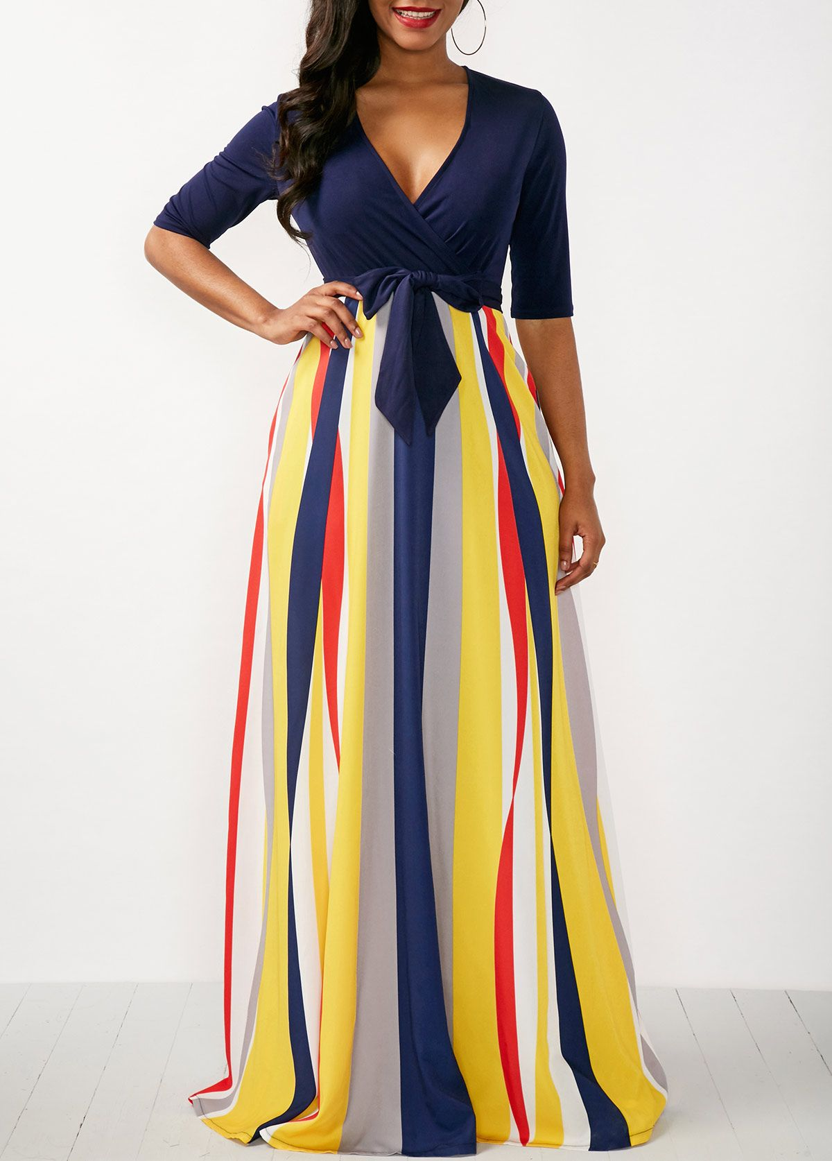 Printed v neck half sleeve maxi dress maxi dresses printing and