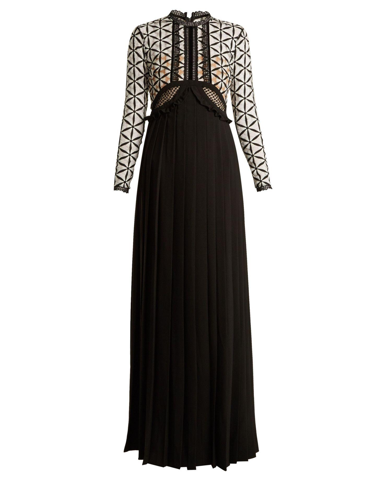 Selfportrait longsleeve pleated crepe dress matchesfashion