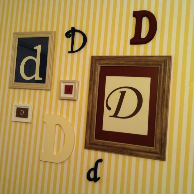 Wooden letters from craft store and a few cheap frames. Painted ...