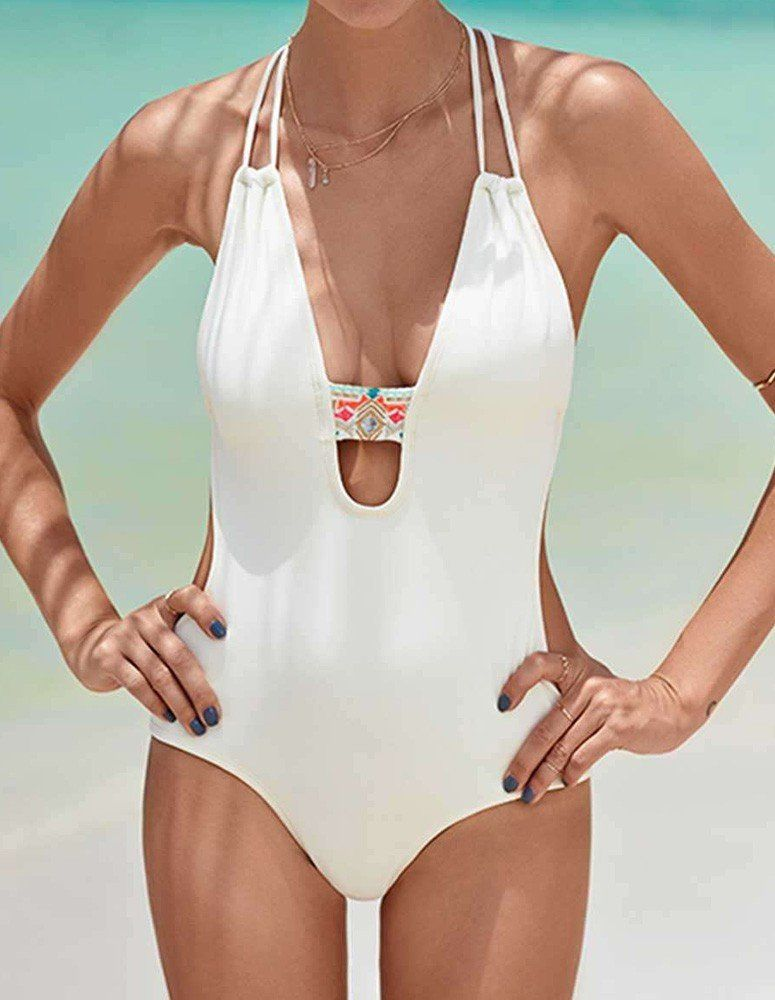 5dac8419ac11d Designer White Strappy Gathered Padded Monokini One Piece Swimsuit ...