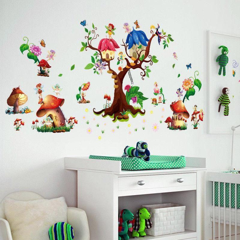Wandtattoo Wandaufkleber Kinderzimmer Pilze Schmetterling Elfen Baum Wandaufkleber Kinderzimmer Wandtattoo Kinderzimmer Wandtattoo