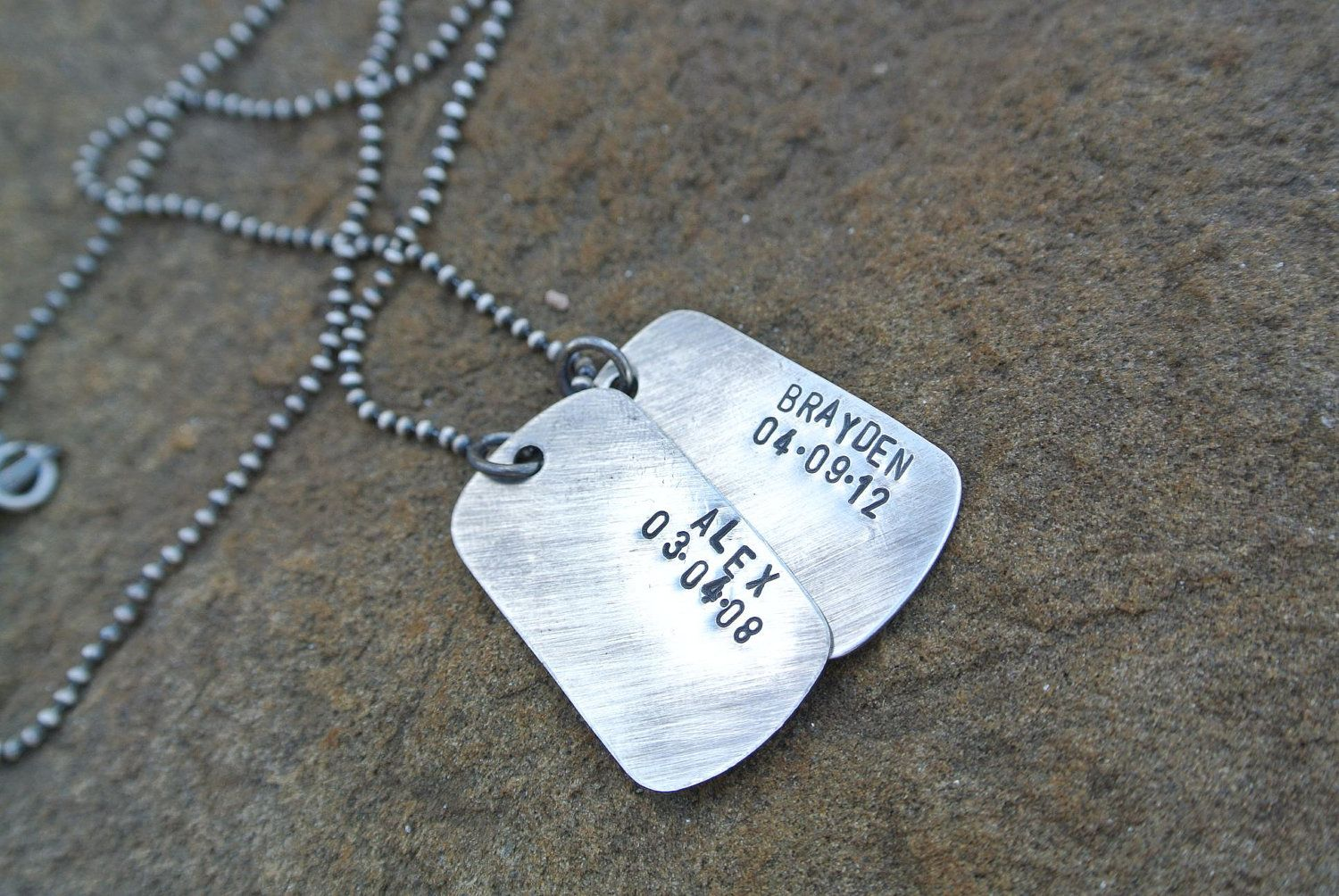 Double Dog Tag Hand Stamped Sterling Silver Personalized Custom Necklace. $55.00, via Etsy.