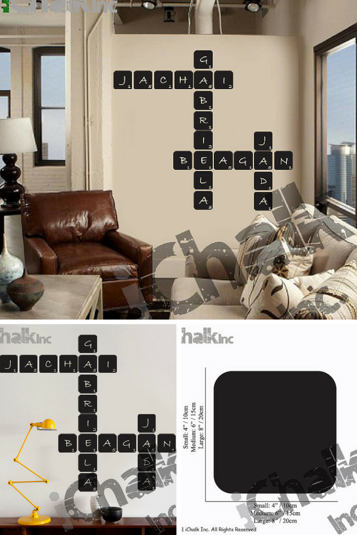 $1.56 DIY Crossword puzzle Chalkboard Wall Decal for Home or Office ...