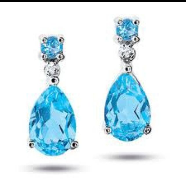Pear shaped Blue Topaz. Pretty sure we need like 3 pair of these.