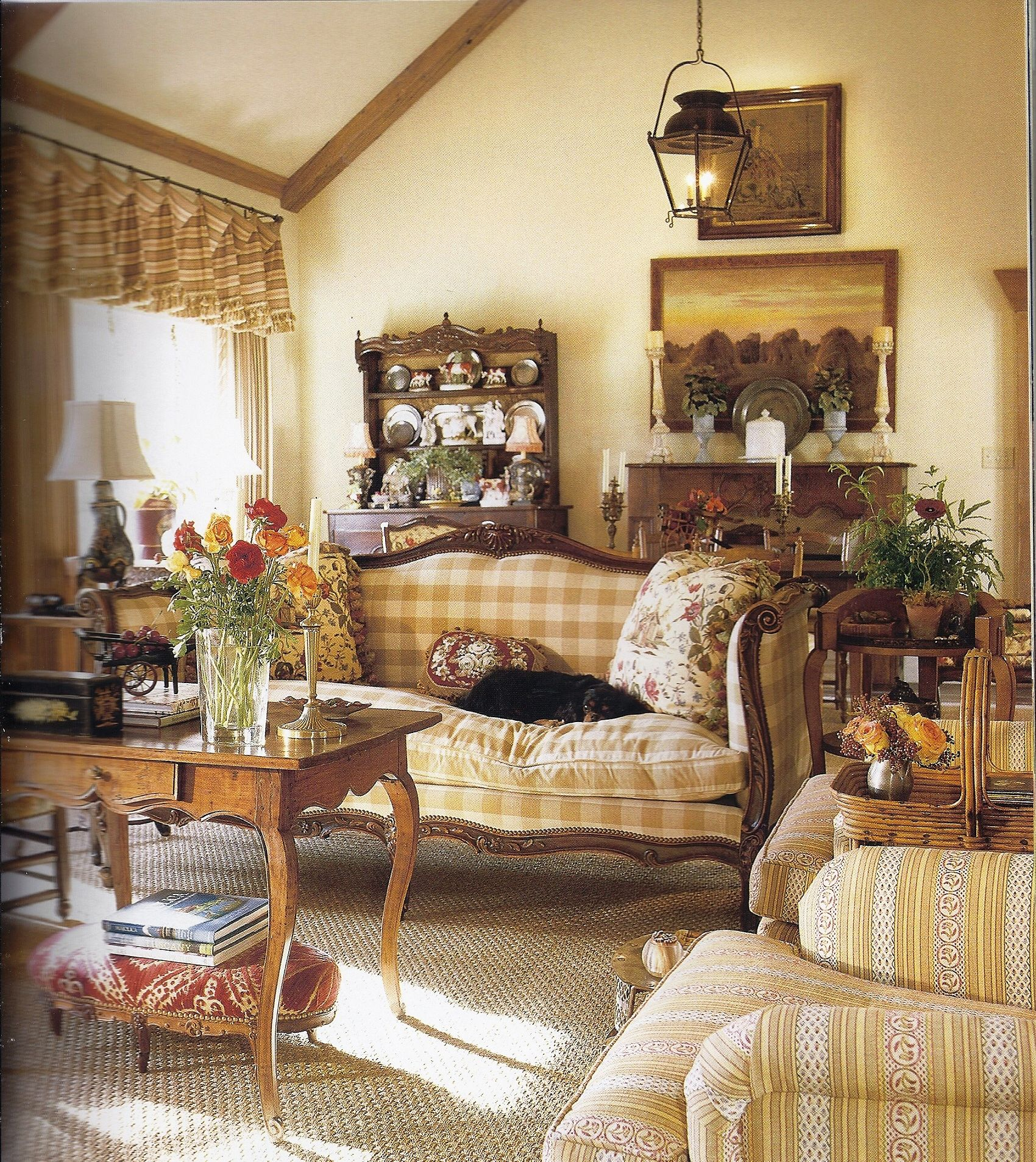 The Layers Of Soft Colour Pattern And Texture Buffalo Check And Wood Trim Love French Country Living Room Country Living Room French Country Decorating
