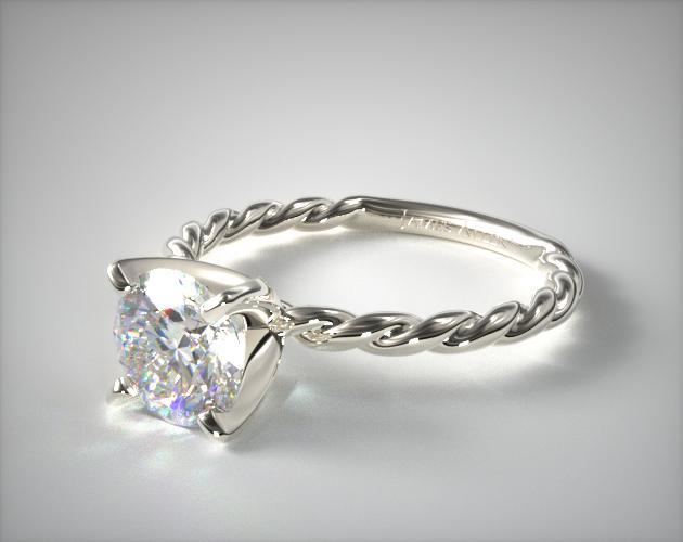 14k White Gold Cable Solitaire Engagement Ring Twisted Cables Create A Charming Backdrop For The Diamond Of Your Choice Pair This