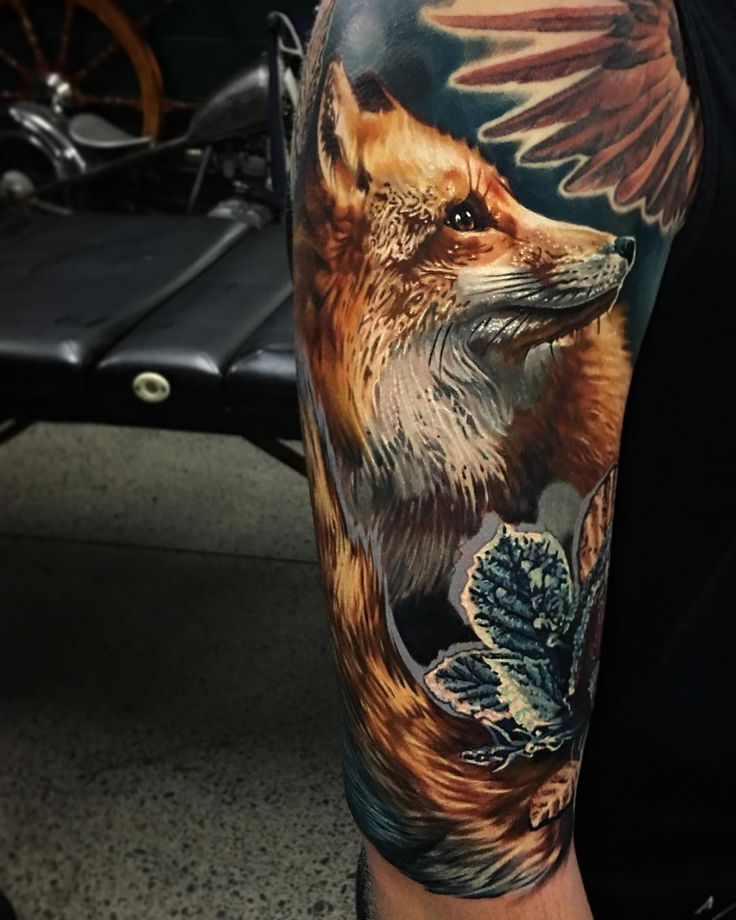 Unique Animal Tattoo Designs Fox Realism Ohotnichi Tatuirovki Tatuirovki Lisy Tatuirovki Rukava