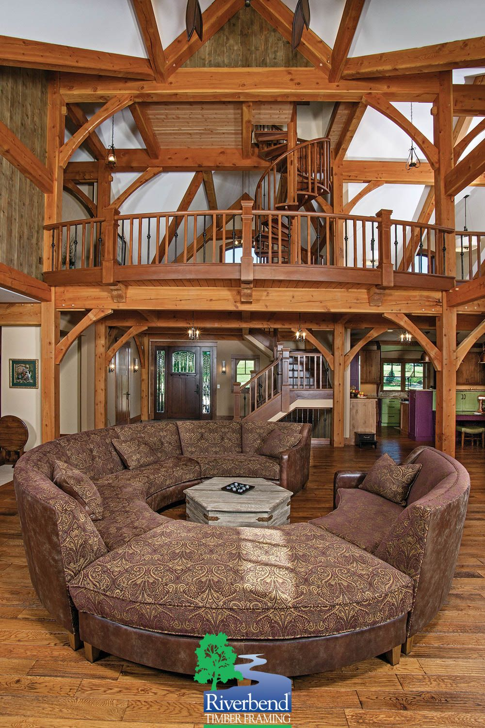 Great Room I Missouri Timber Frame Home I Riverbend Timber Framing ...
