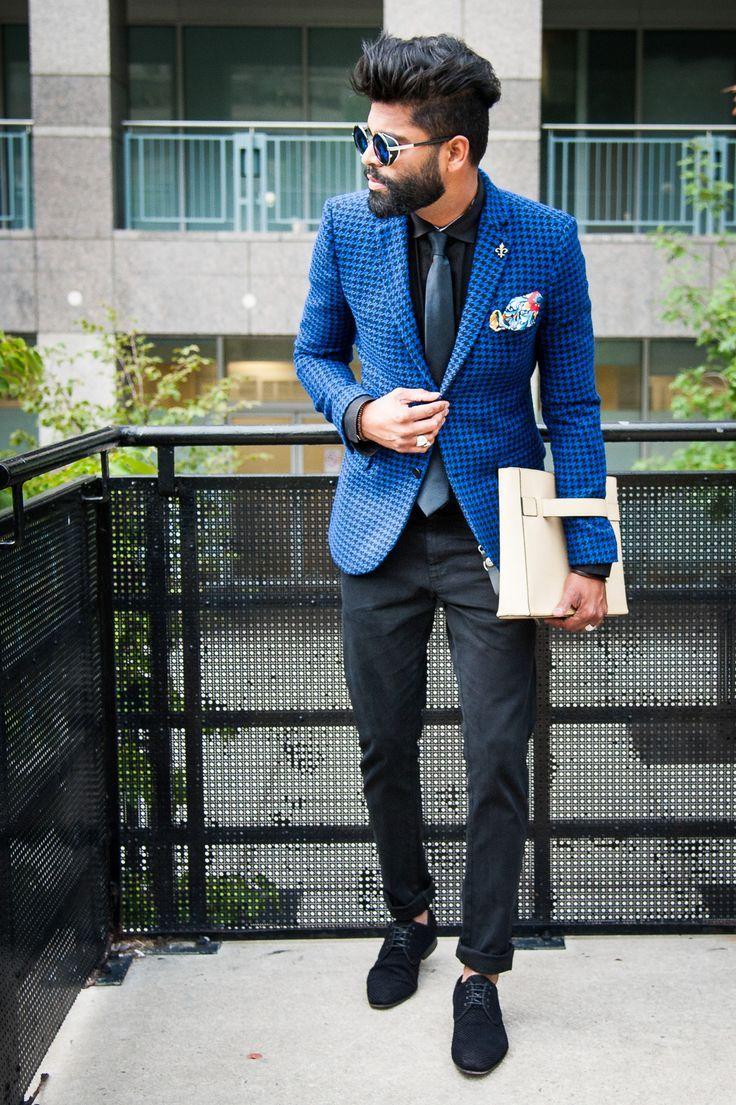 Men's Blue Houndstooth Blazer, Black Dress Shirt, Black Jeans ...
