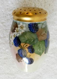 Vintage Salt /& Pepper Shaker Set Austria German Hand Painted Gold Blue Fruit Ceramic Dining