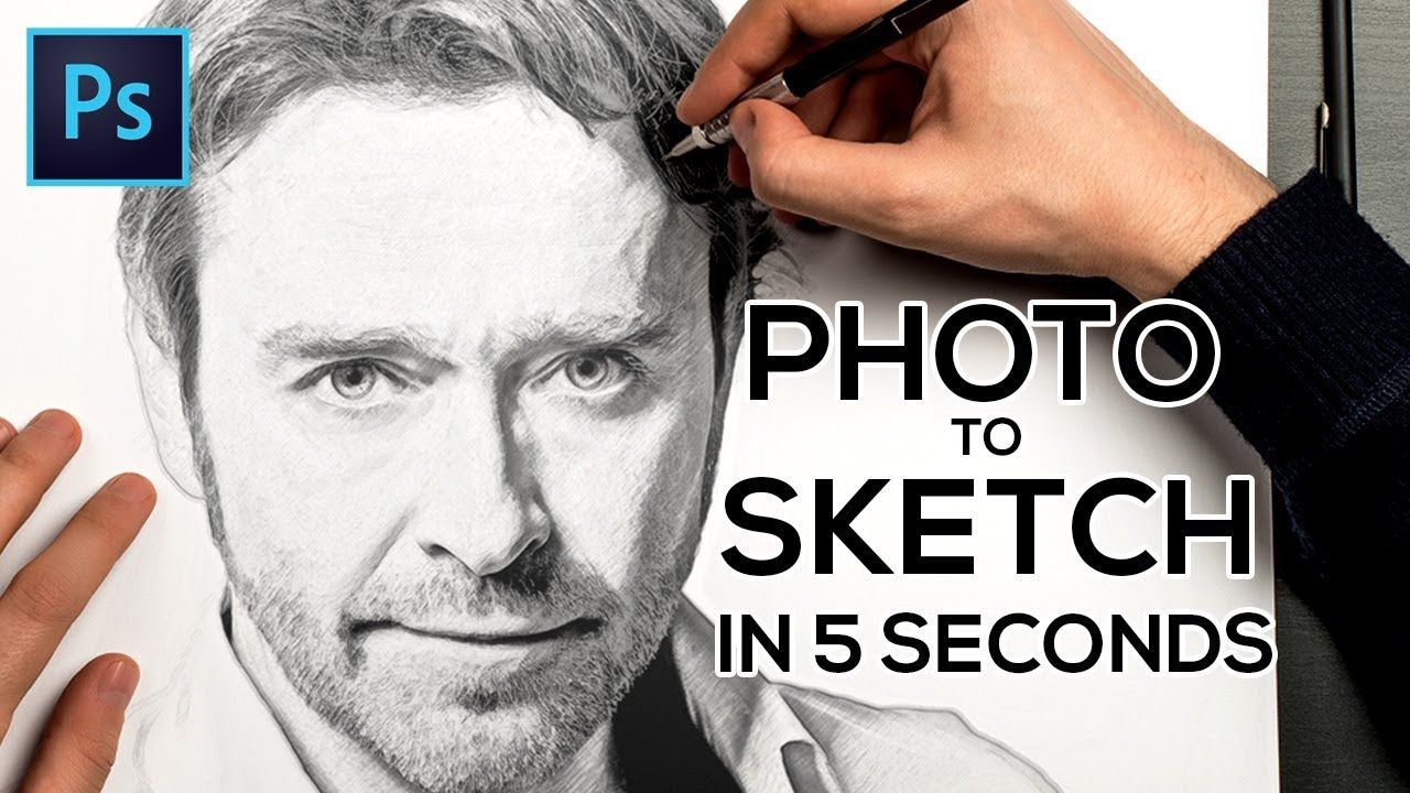 How to transform any photo into pencil sketch effect in adobe photoshop tutorials 4k resolution full
