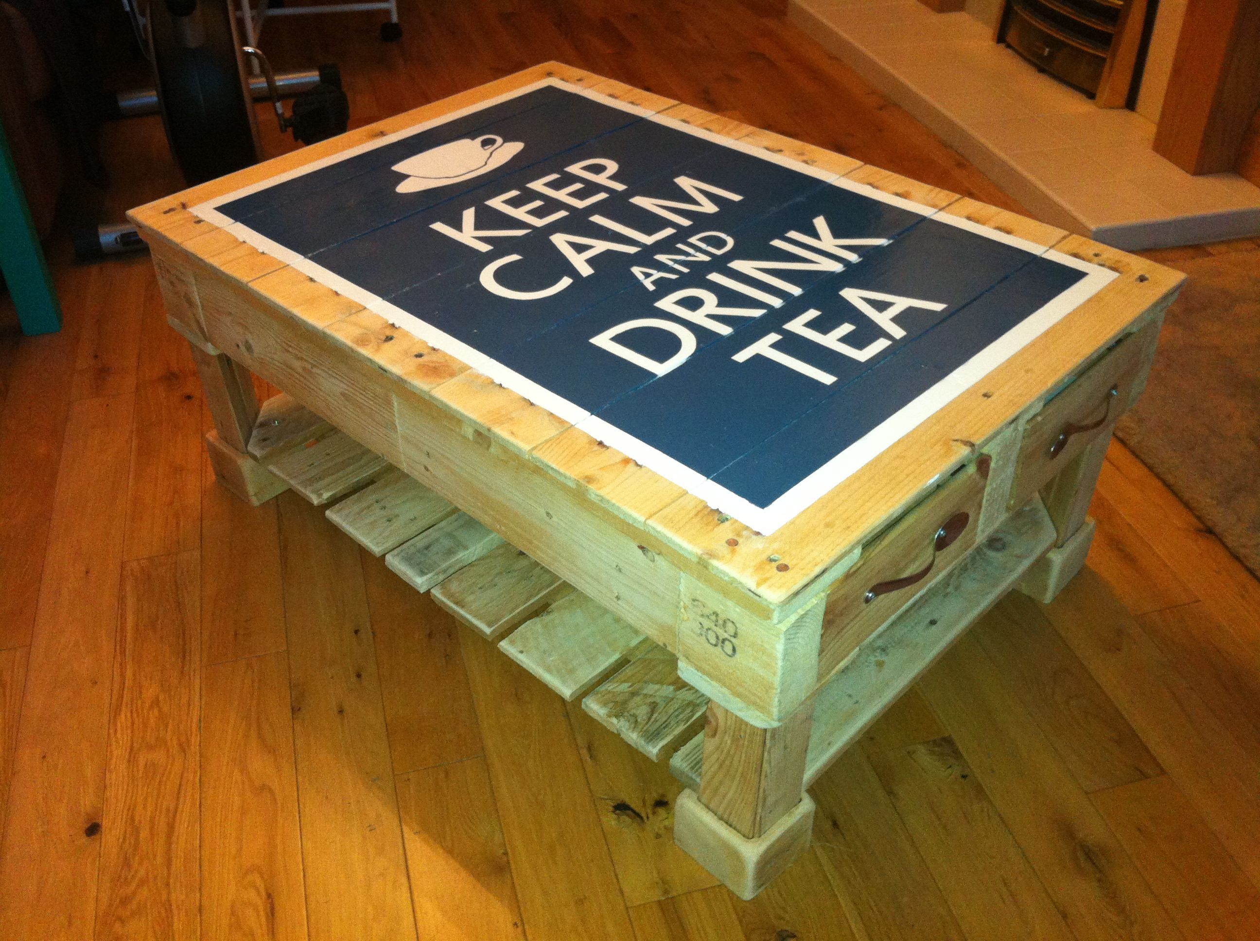 Reused Furniture upcycled pallet with cute teaspoon draw handles! #upcycle #crate