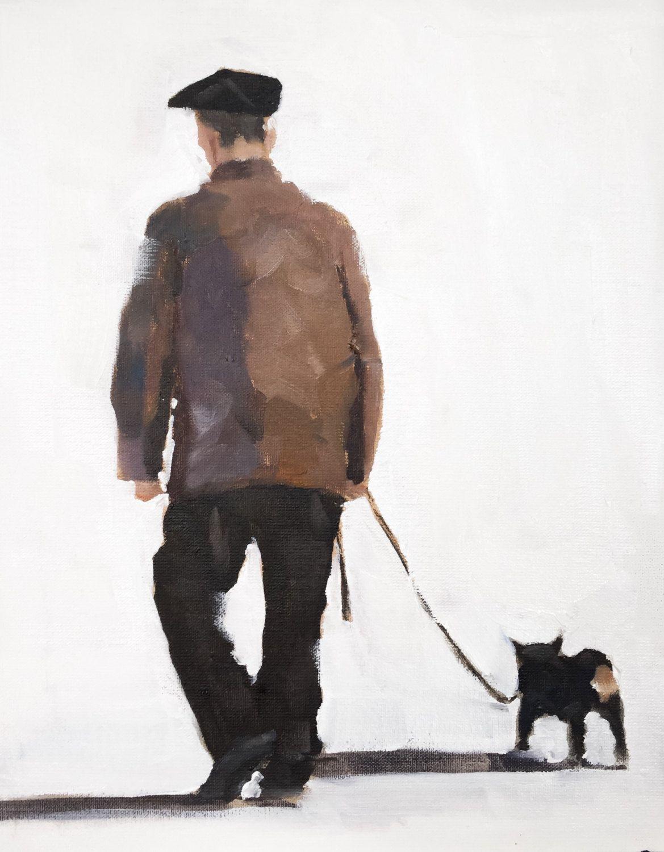 Man Walking Dog : Man walking dog painting art print