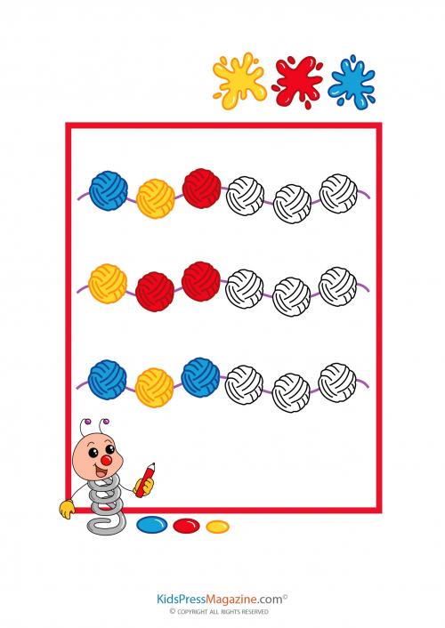pattern worksheet color fill in 1 - Color Pattern Worksheets