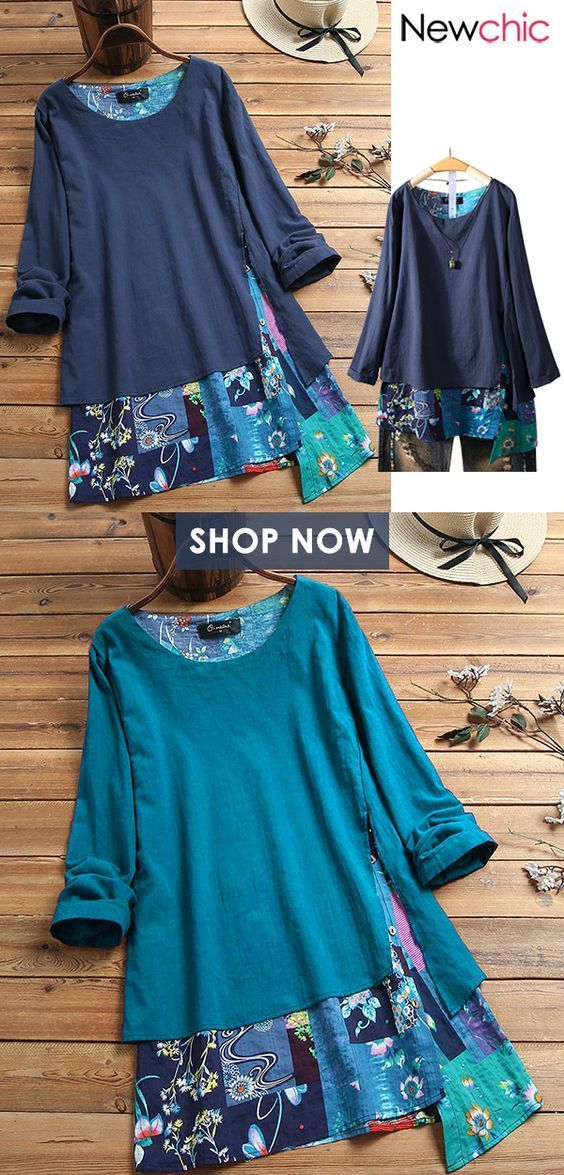 Vintage Print Patchwork Irregular Plus Size Blouse. #tops #floralshirts #plussiz…