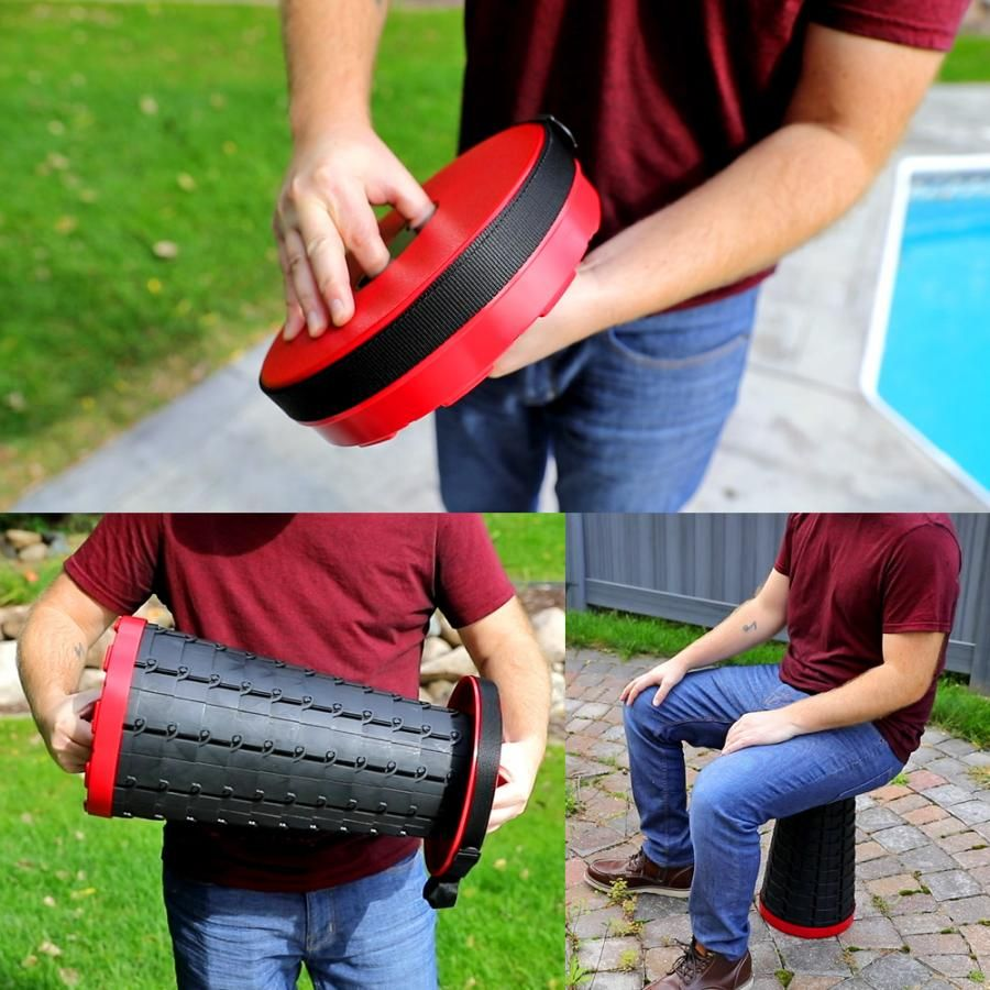 This Incredible Retractable Stool Collapses Down To Just 2 5 Inches Folding Stool Portable Stool Unique Stools