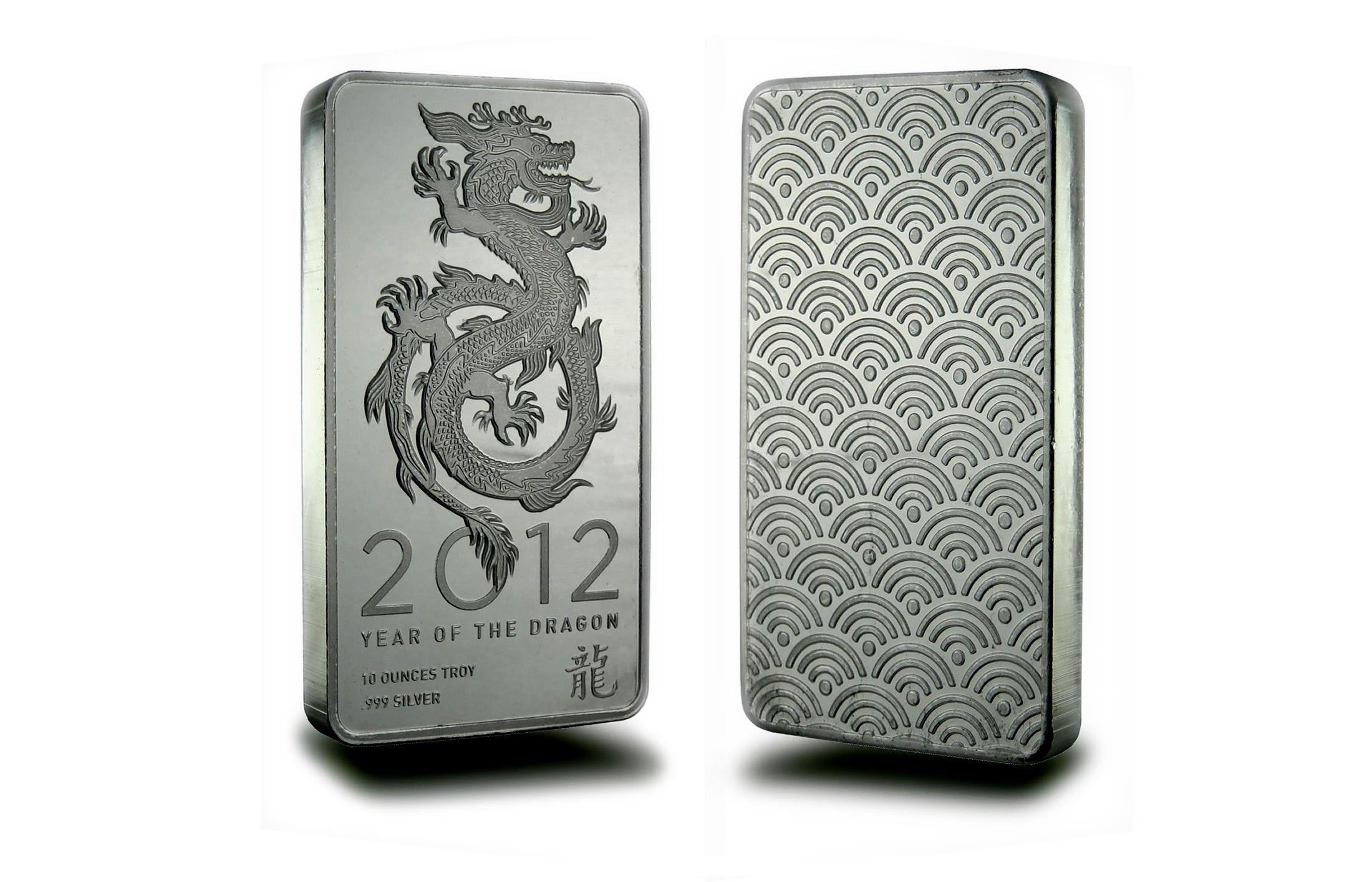 2012 Year Of The Dragon 10 Oz Silver Bar 999 Fine Silver Bars Silver Bullion Year Of The Dragon