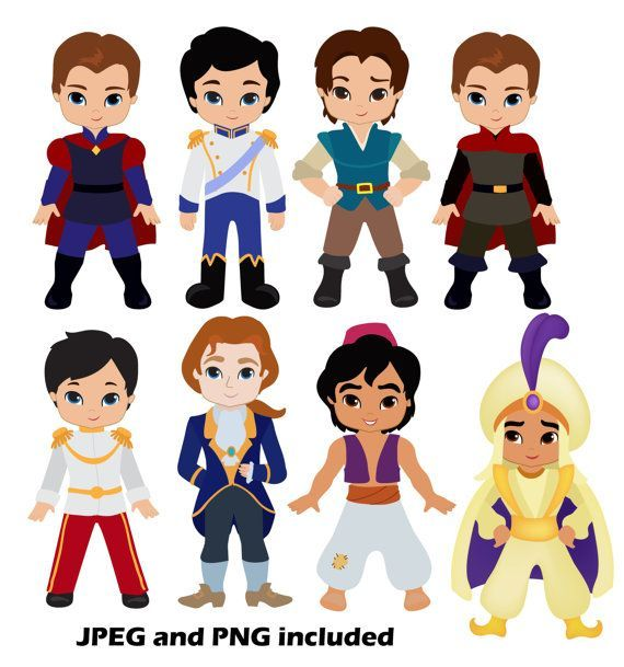 50 Princes Digital Clipart / Fairytale Princes by SandyDigitalArt,: