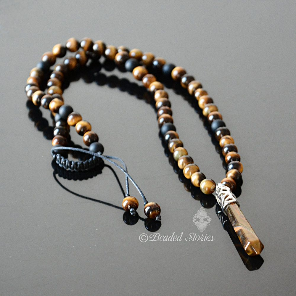 mens necklace brown long pendant tigers point pin gemstone jewelry tiger crystal energy healing eye