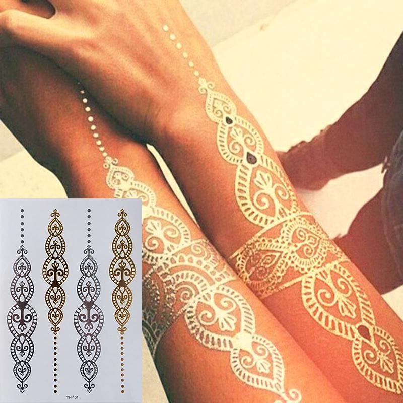 Body Art Painting Tattoo Stickers Glitter Metal Gold Silver Temporary Flash Tattoo Disposable Indians Tatto Gold Tattoo Metallic Body Art Gold Temporary Tattoo