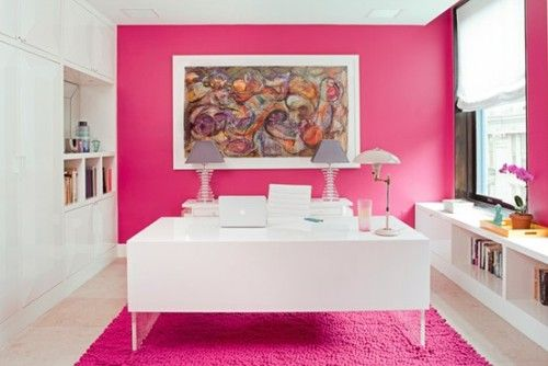 pink home office. Adding Pops Of Pink To Your WorkSpace. Home OfficesPink Office