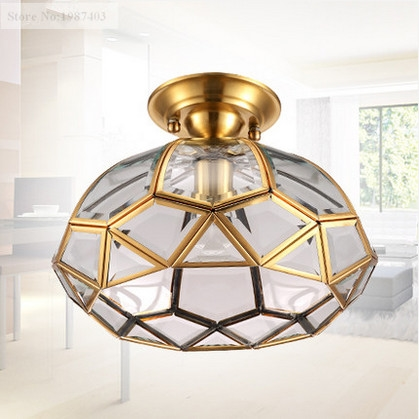 63.40$  Buy now - http://alibrg.worldwells.pw/go.php?t=32756673027 - European retro copper&crystal glass circular Ceiling lights Handwork soldering E27 LED lamp for porch&pavilion&stairs BRSXDD001 63.40$