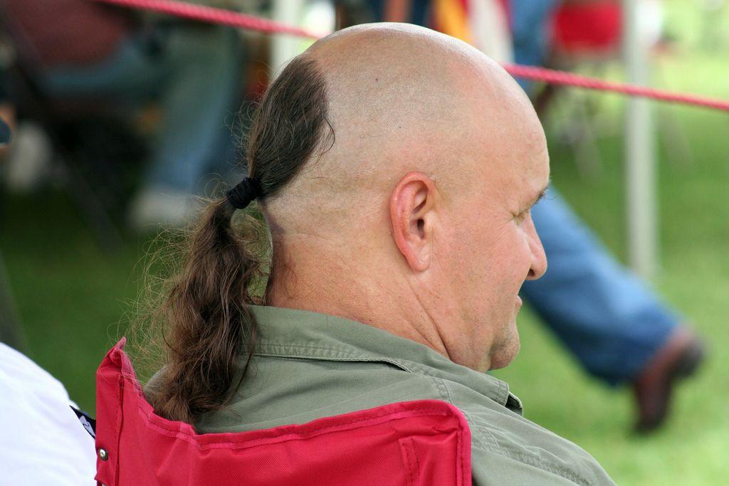 Bald Man With Ponytail Man Ponytail Bald Men Bad Haircut