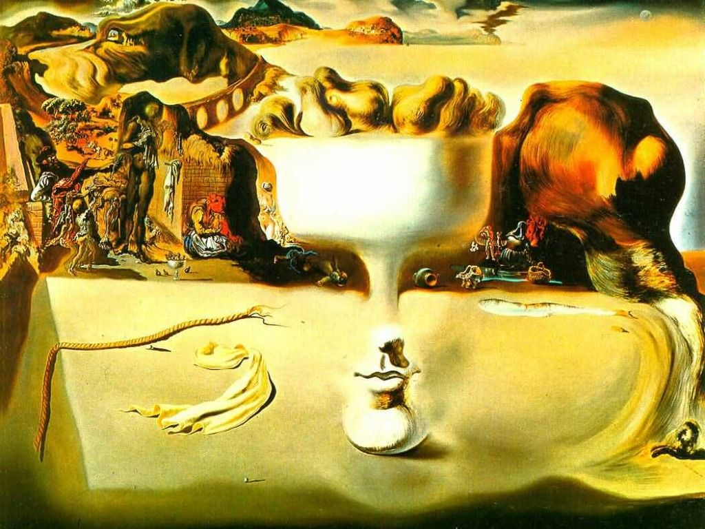 an analysis of the painting apparition of a face and a fruit dish on beach by salvador dali Invisible afghan with the apparition on the beach of the face of garcia lorca in the form of a fruit dish with three figs, 1938 by salvador dali, surrealism period (1929-1940.