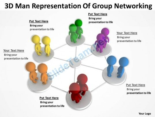 3D Man Representation of Group Networking Ppt Graphics Icons #Powerpoint #Templates #Infographics