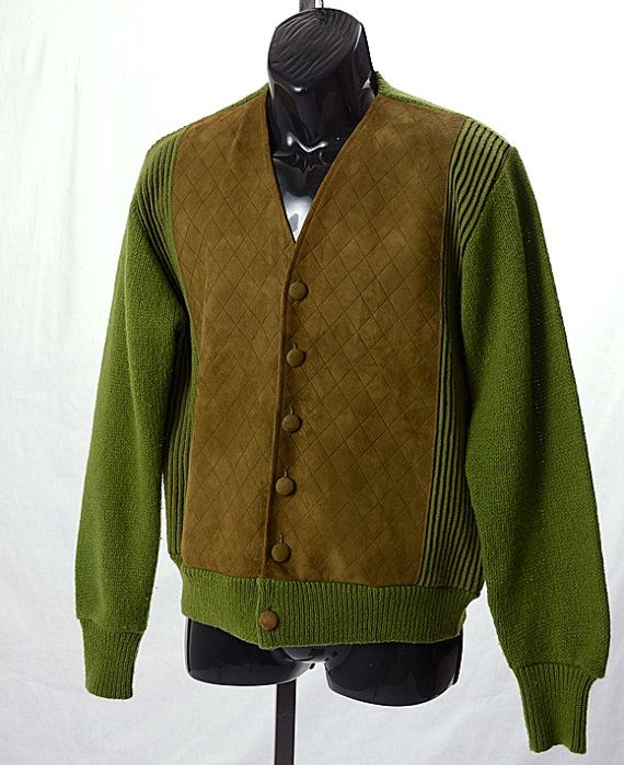 Vintage 60s Campus Wool Knit Suede Leather Cardigan Sweater  2a8a13d27