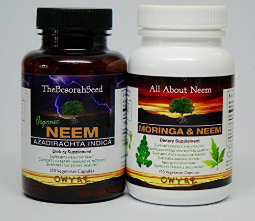 Neem Leaf And Neem Moringa Oleifera Leaf Powder Organic Capsules 2 Bottle Set Wellness Combo Vegan Kosher Made In Usa Che Diabetic Recipes Azadirachta Indica Moringa Oleifera