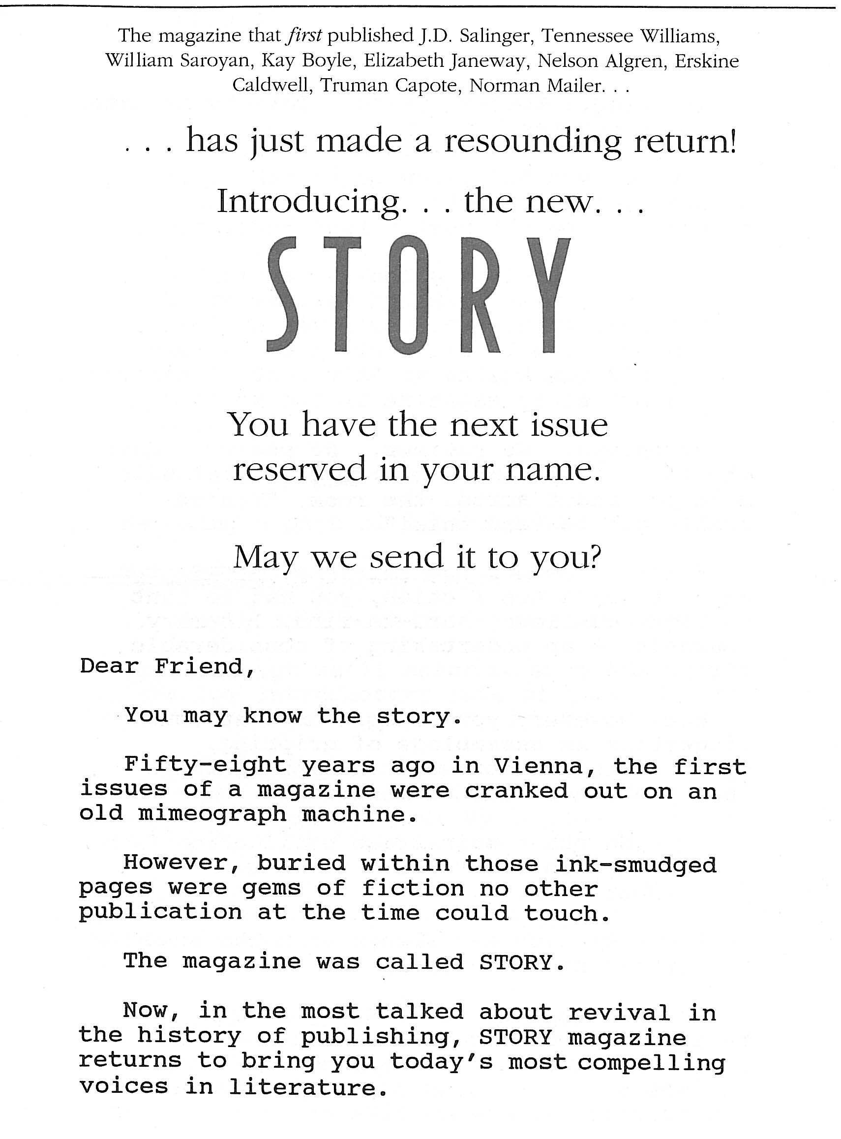 My Direct Mail Sales Letter For Story Magazine Pulled Over 14