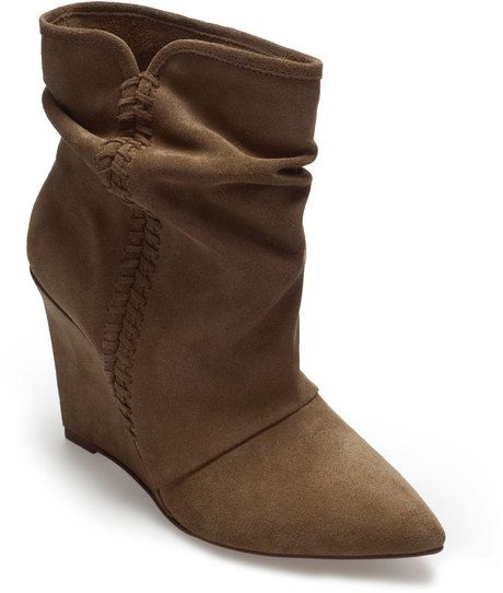 ae66d02adc61 Zara Suede Wedge Ankle Boot in Brown (khaki) - Lyst