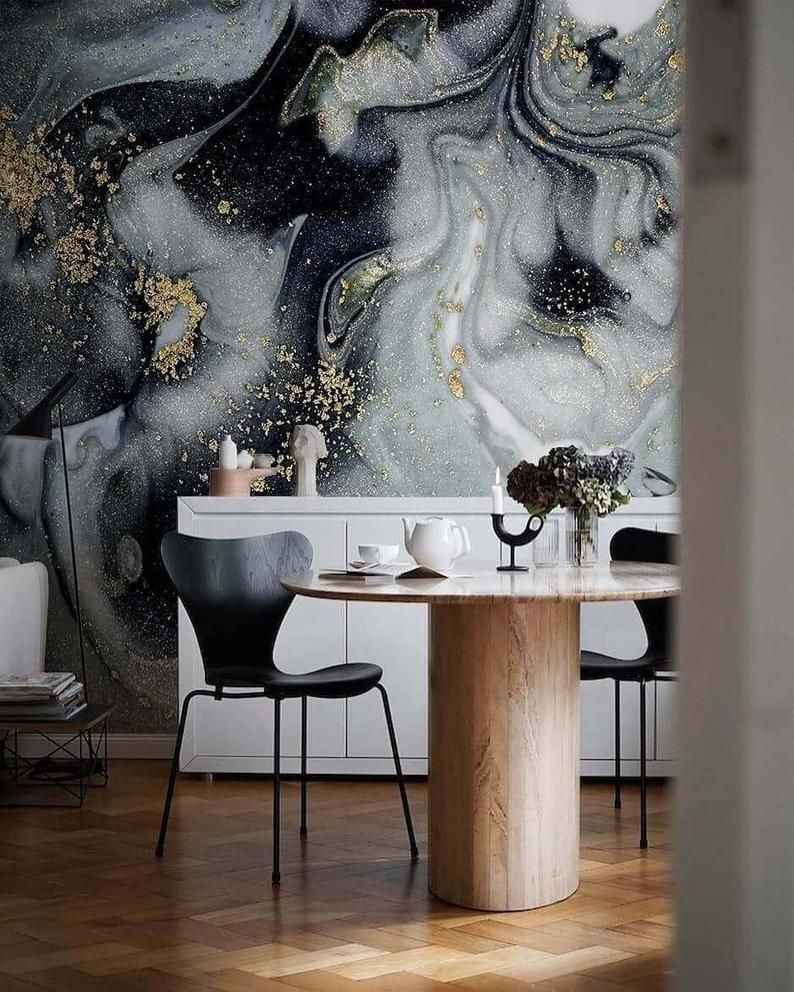 Gold And Black Marble Wallpaper Abstract Peel And Stick Etsy In 2020 Marble Wallpaper Wall Wallpaper Wall Murals