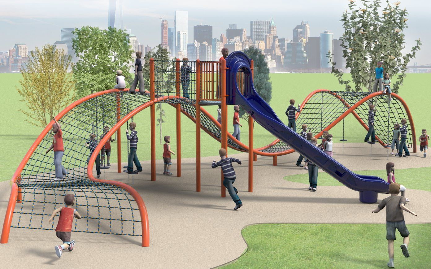 Fun Design Created By Dynamo Playgrounds Combining A Custom Ropes Course And Slide Playground School Playground Kids Playground