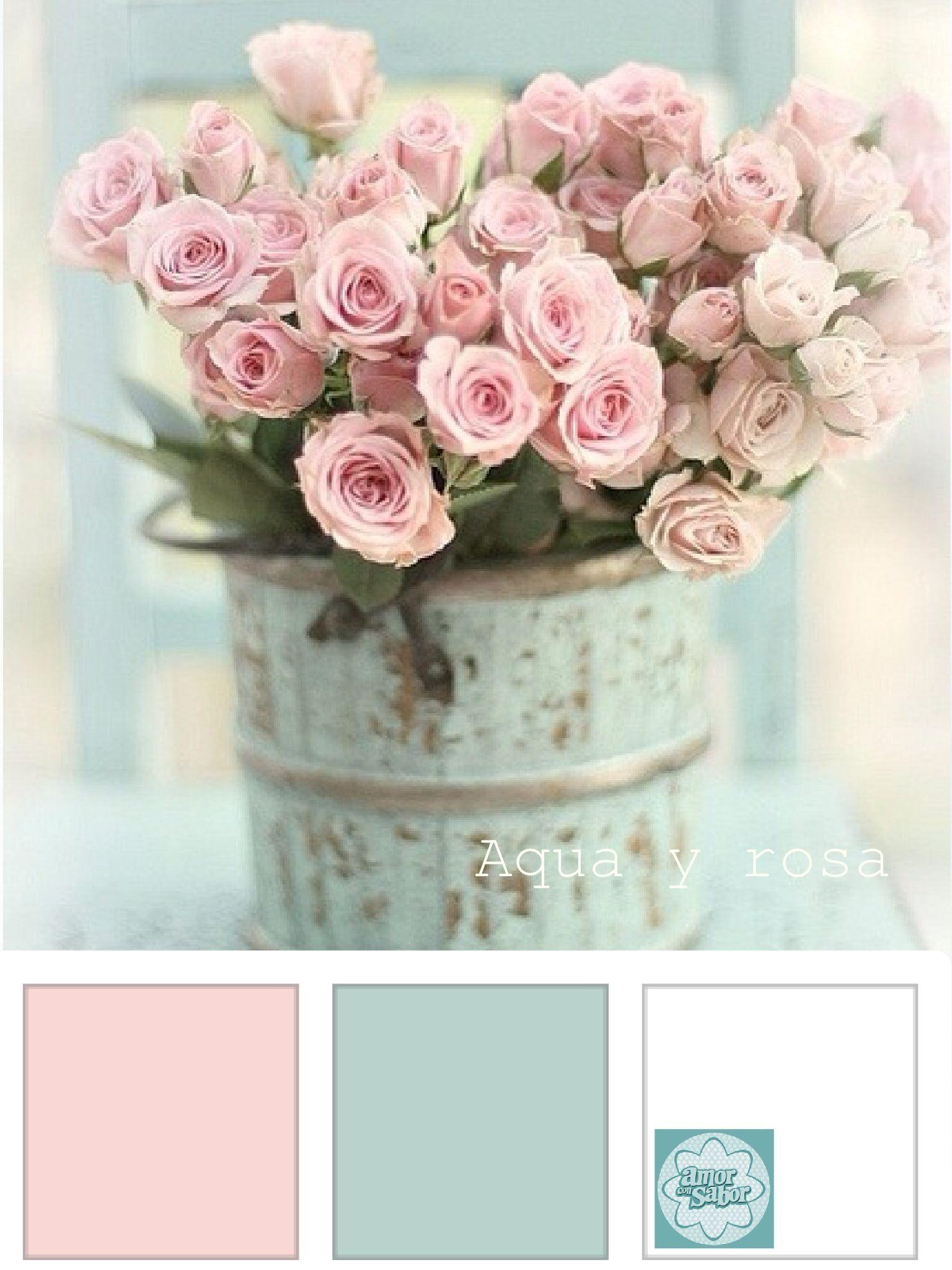 Aqua y rosa para una boda estilo Vintage