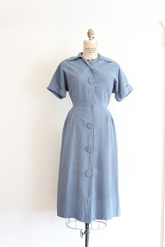 vintage 1940s button up day dress with chunky studded buttons // by TrunkofDresses