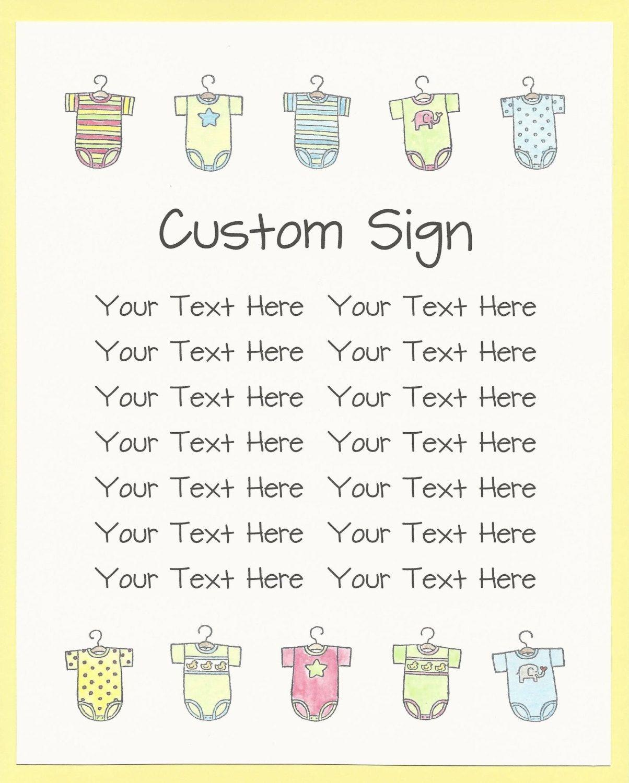 Custom Baby Shower Signs   Baby Shower Printables, Baby Shower Game  Instructions Signs, Baby Shower Activity Signs, Baby Shower Table Signs