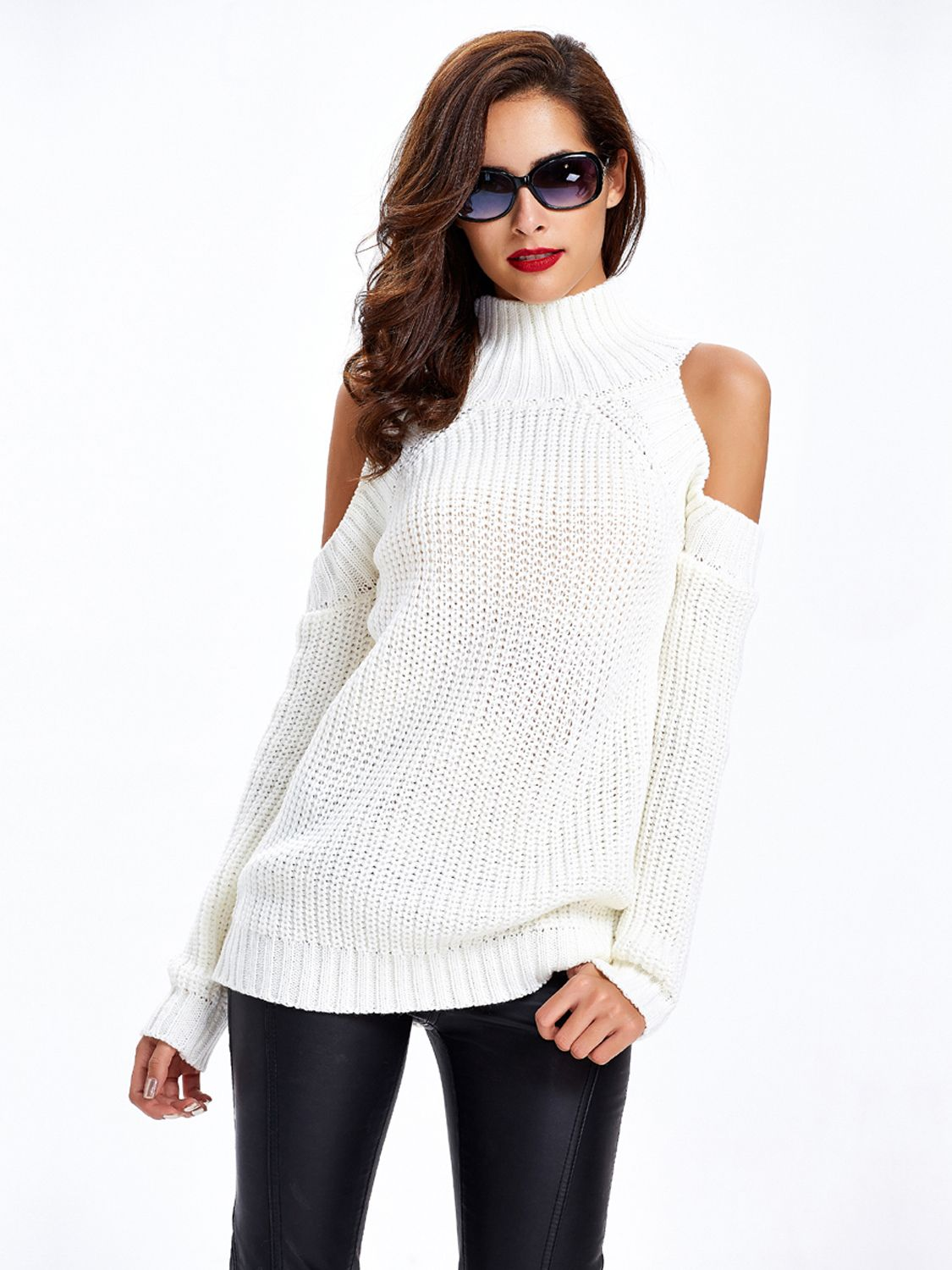 White High Neck Cold Shoulder Ribbed Knit Sweater | Rib knit, Cold ...