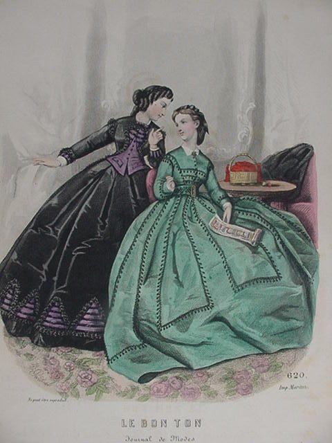 Le Bon Ton Fashion Print From 19th C Paris Journal Green And Black Costumes Fashion Prints Civil War Fashion Fashion Plates
