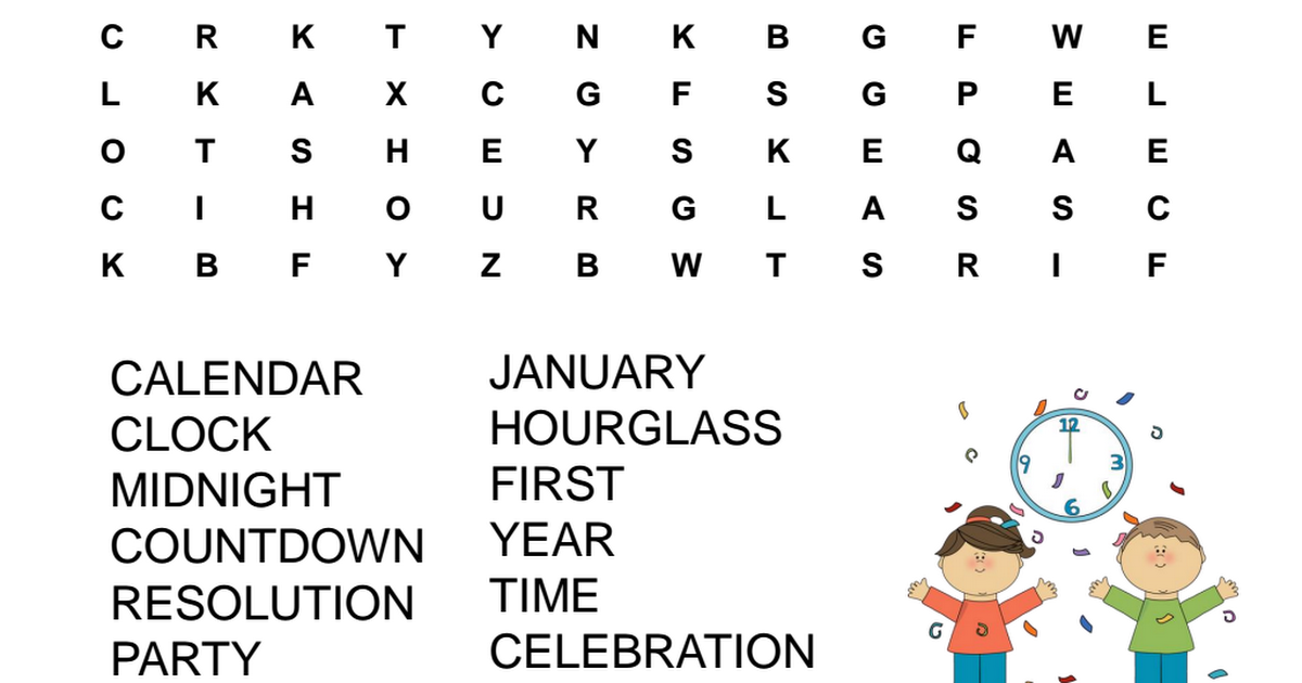 New Year's Eve Word Search.pdf (With images) Батьківство