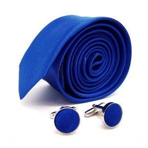LABEL-CRAVATE noeud-papillon bleu-roi et boutons de manchette