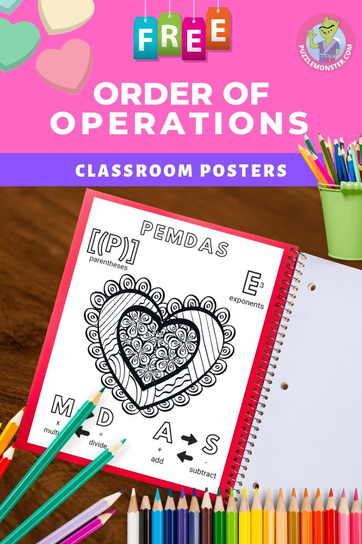 PEMDAS Rule With a Valentine's Day Theme Classroom