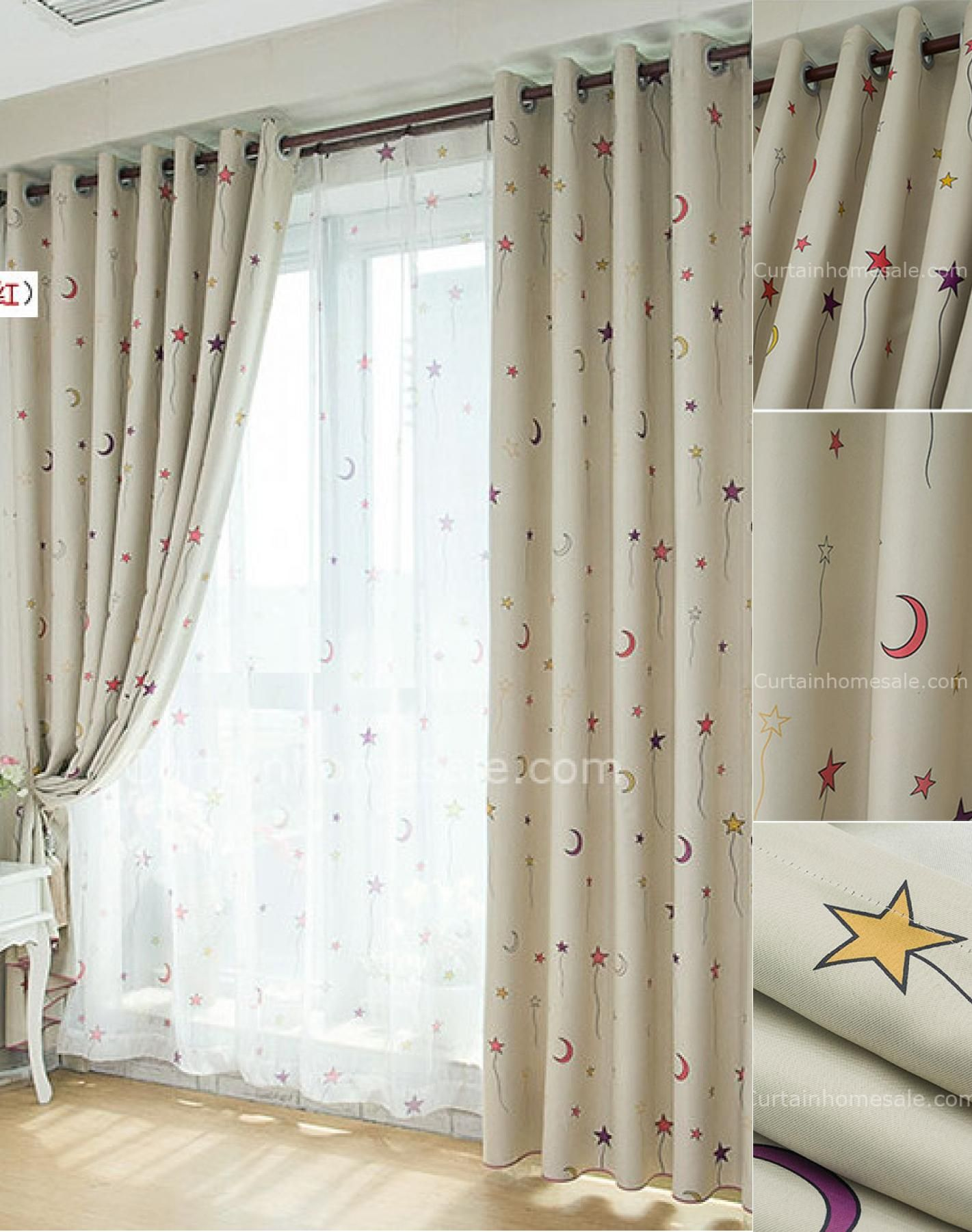 Bohemian Room Darkening Stars Fiber Children Girlsroom Darkening Curtains Baby Room Curtains Childrens Blackout Curtains Cool Curtains