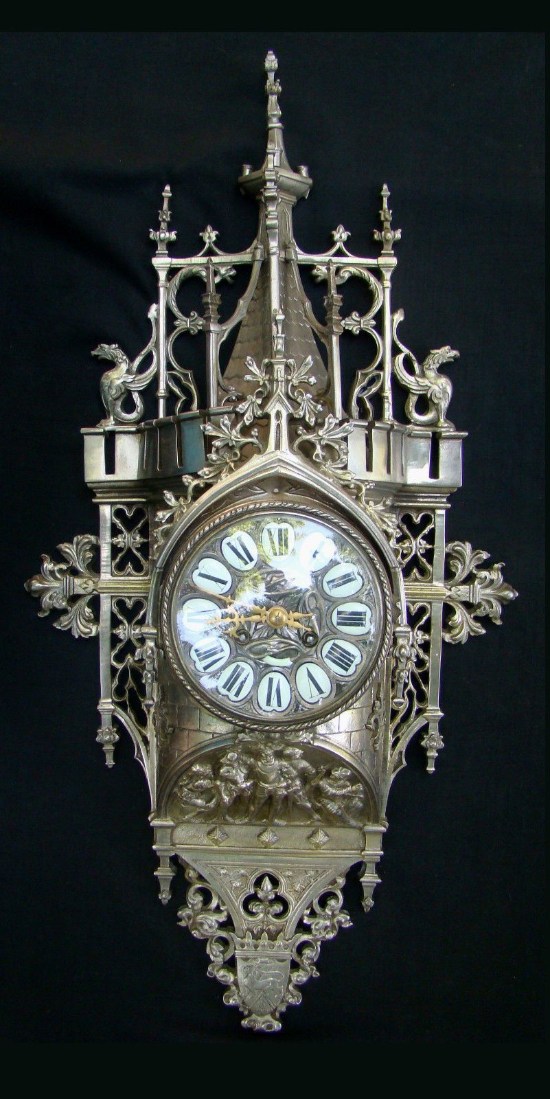 Ornate Antique French Gothic Style Cartel Clock Time
