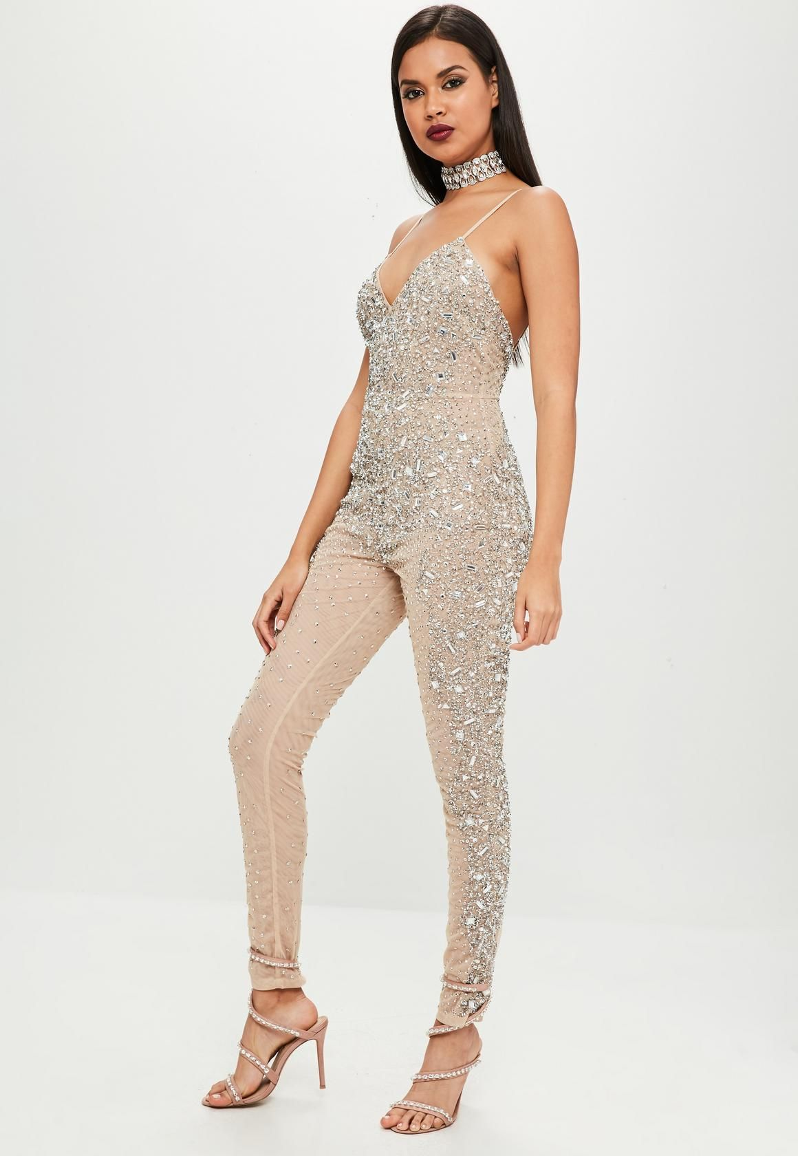 a9febdb337b6 Missguided - Carli Bybel x Missguided Nude Embellished Jumpsuit this  jumpsuit features a nude hue,